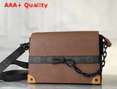 Louis Vuitton Trunk Messenger in Brown Taiga Leather and Monogram Canvas Replica