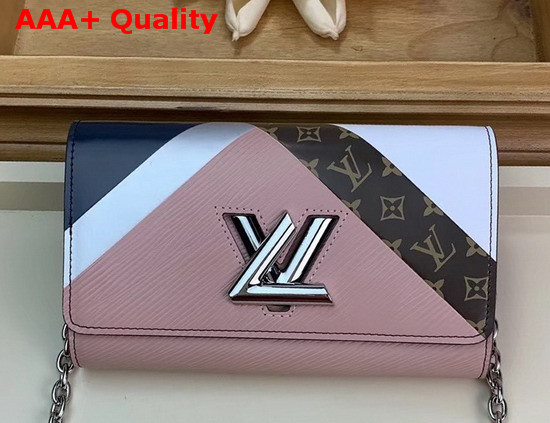 Louis Vuitton Twist Chain Wallet Pink White Navy Blue Printed and Embossed Calfskin Replica