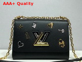 Louis Vuitton Twist MM Black Epi Cowhide Leather with Locks Keys and Monogram Flowers M52891 Replica