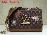 Louis Vuitton Twist MM Brown and Orange Transformed Monogram Canvas Aged Natural Cowhide Trim M44408 Replica