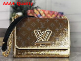 Louis Vuitton Twist MM Handbag Gold and Silver Sequin Embroidered Leather Replica