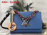 Louis Vuitton Twist MM Handbag in Blue Epi Leather with a Braided Handle and Removable LV Initials Charm M53922 Replica