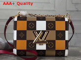 Louis Vuitton Twist MM Handbag in Monogram Canvas Woven with Colored Leather M55426 Replica