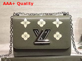 Louis Vuitton Twist MM Khaki Printed and Studded Epi Leather Replica
