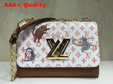Louis Vuitton Twist MM White and Orange Transformed Monogram Canvas Aged Natural Cowhide Trim Replica