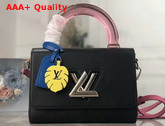 Louis Vuitton Twist MM in Black Deep Dyed Epi Leather with a Colored Plexiglass Top Handle and Bright Colored Nametag and Charm M56112 Replica