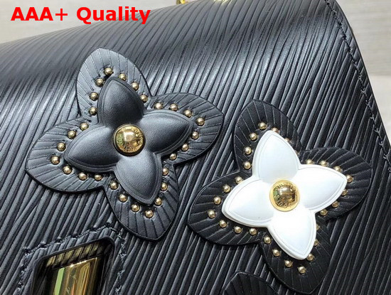 Louis Vuitton Twist MM in Black Epi Leather Features Studded Leather Flowers M53762 Replica