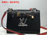 Louis Vuitton Twist MM in Black Epi Leather with LV Love Lock Charms M52894 Replica M52894
