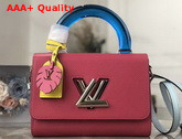 Louis Vuitton Twist MM in Grenade Deep Dyed Epi Leather with a Colored Plexiglass Top Handle and Bright Colored Nametag and Charm M56131 Replica