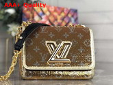 Louis Vuitton Twist PM Handbag Gold and Silver Sequin Embroidered Leather Replica