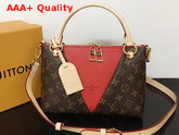 Louis Vuitton V Tote BB Monogram Coated Canvas and Cerise Red Grained Calf Leather M43966 Replica