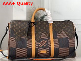 Virgil Abloh and Nigo Debut Louis Vuitton Keepall Bandouliere 50 Giant Damier Ebene Canvas and Monogram Canvas Replica