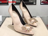 Roger Vivier Flower Strass Buckle Pumps in Nude Silk Satin Replica