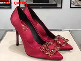 Roger Vivier Flower Strass Buckle Pumps in Red Silk Satin Replica
