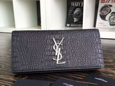 Saint Laurent Clutch In Black Crocodile Embossed Leather for Sale