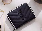 Saint Laurent Compact Zip Around Wallet in Black and Dove White Grain De Poudre Textured Matelasse Leather For Sale