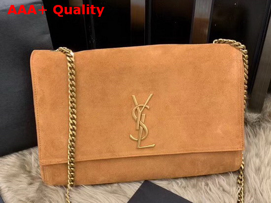 Saint Laurent Kate Medium Reversible Bag in Brown Suede and Smooth Leather Replica