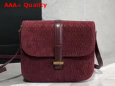 Saint Laurent Monogram All Over Small Satchel in Burgundy Suede Calfskin Leather Replica