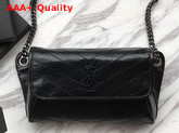 Saint Laurent Niki Body Bag in Black Crinkled Vintage Leather Replica