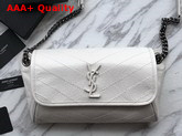 Saint Laurent Niki Body Bag in Blanc Crinkled Vintage Leather Replica