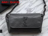 Saint Laurent Niki Body Bag in Storm Crinkled Vintage Leather Replica