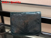Saint Laurent Niki Chain Wallet in Deep Green Crinkled Vintage Leather Replica