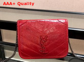 Saint Laurent Niki Chain Wallet in Eros Red Crinkled Vintage Leather Replica