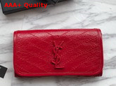 Saint Laurent Niki Large Wallet Eros Red Crinkled Vintage Leather Replica