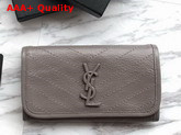 Saint Laurent Niki Large Wallet Grey Crinkled Vintage Leather Replica