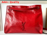 Saint Laurent Niki Medium Shopping Bag in Red Crinkled Vintage Leather Replica