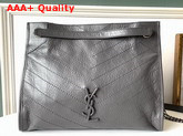 Saint Laurent Niki Medium Shopping Bag in Storm Crinkled Vintage Leather Replica