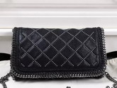 Stella Mccartney Falabella Studded Quilted Shaggy Deer Cross Body Bag in Black for Sale