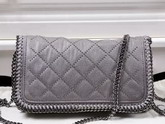 Stella Mccartney Falabella Studded Quilted Shaggy Deer Cross Body Bag in Light Grey for Sale