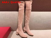 Valentino Garavani Rockstud Over The Knee Boot in Pink Stretch Suede Replica