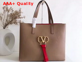 Valentino Large Vring Shopping Tote Nude Calfskin Replica