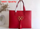 Valentino Large Vring Shopping Tote Red Calfskin Replica