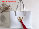 Valentino Large Vring Shopping Tote White Calfskin Replica