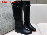 Valentino Rockstud Buckle Strap Knee High Boot Black Calfskin Leather Replica