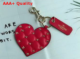 Valentino Rockstud Spike Heart Keyring in Red Replica